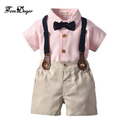 Infant Boys Fashion Australia - Tem Doge Baby Boy Clothing Set Summer Infant Newborn Boys Clothes Shorts Sleeve Tops+suspender Shorts 2pcs Fashion Bebes Clothes J190520