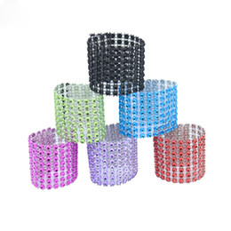 Discount craft chair - 50pcs pack Napkin Ring Chairs Buckles Multicolor Wedding Event Decoration Crafts Rhinestone Bows Holder Handmade Party S