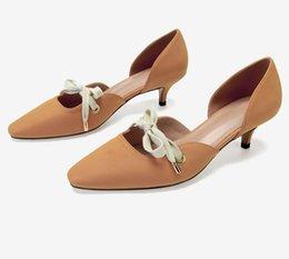 $enCountryForm.capitalKeyWord Australia - Luxury Designer Women Cat-heel Black Pink Orange Pointed Toe Dress Wedding Pumps High Heels Shallow Mouth Hollow Lace-up Sandals