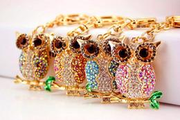 $enCountryForm.capitalKeyWord Australia - Crystal Rhinestone owl Keychain Metal Keychain Keyring Car Keychains Purse Handbag Pendant owl Metal keychain Best Gifts