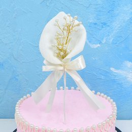 $enCountryForm.capitalKeyWord Australia - Pearl Calla Lily Cake Decoration Ice-cream Cupcake Topper Picks Kids Birthday Party Decor Wedding Engagement Dessert Supplies