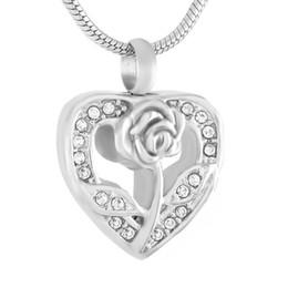$enCountryForm.capitalKeyWord Australia - IJD9345 Crystal Rose Flower In My Heart Stainless Steel Cremation locket Necklace Hold Ashes Keepsake Memorial Urn Pendant