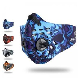 Carbon Face Masks Australia - Activated Carbon Filter print Mask Unisex Outdoor Cycling Bike Bicycle Dust Half Face mask Motorcycle Cover AAA1746
