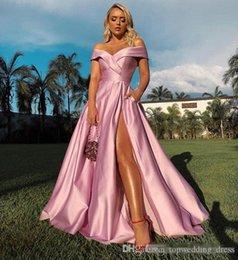 Red Satin Dress Design Australia - 2019 New Pink Off The Shoulder Prom Dresses Sexy Side Split Elastic Satin A Line Sweep Train Formal Occasion Evening Dresses Simple Design