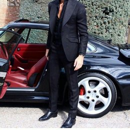 $enCountryForm.capitalKeyWord Australia - Wide Peak Design Dark Blue Man Blazers Mens Summer Suit Jacket Groom Tuxedo Costume Homme Prom Party 2Piece Terno Masculino trajes de hombre
