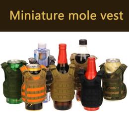 Discount black molle tactical vest - Tactical Vest Layer Military Beer Bottle Cover Beverage Cooler Mini Molle Vest Adjustable Shoulder Straps for Bottle #18