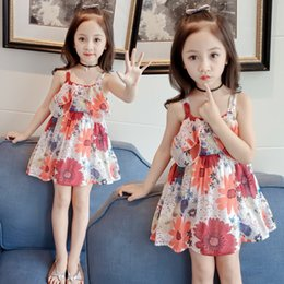 Wholesale Baby Floral Sling Child Dress Child Dress Korean Summer New Medium and Small Girls Cute Dress