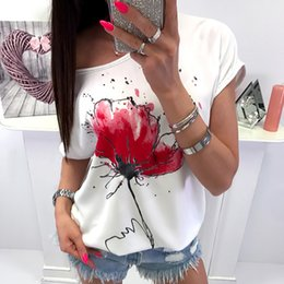 women floral blouses Australia - 2019 New Women Blouses Casual Floral Print Blouse Short Sleeve Loose Top Shirt Tee