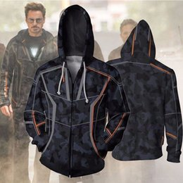 ironing clothes NZ - : Infinite Iron Man Tony Stark Suits Sweatshirts Anime Hoodie 3d Digital Printing Cosplay Zipper Clothing