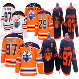 Vente en gros Edmonton Oilers 2019-2020 Troisième Jersey 97 Connor McDavid Jersey 29 Leon Draisaitl 93 Ryan Nugent-Hopkins Hockey Maillots