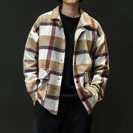 82fd301e42 Plus Size Mens Plaid Jacket Australia - 2018 Autumn Winter Jacket Men Wool  Blends Mens Casual