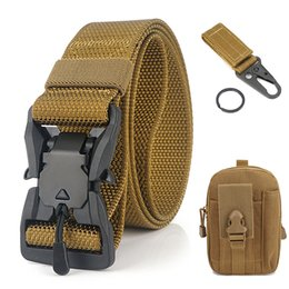 fishing black metal UK - Outdoor Quick Release Metal Buckle Belt with Waist Pouch Snap Hook Strap for Camping Hiking Fishing Black Army Green Khaki