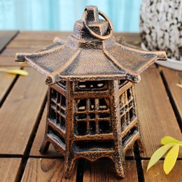 outdoor hanging candles NZ - Candle Lantern Cast Iron Hanging Candle Holder Garden Tea Light Tealight Holder Outdoor Yard Lanterns Decoration Metal Crafts Antique Retro
