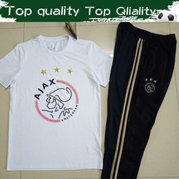 Wholesale 2019 Top Quality Ajax Soccer Tees With Trousers New Godenzonen Sport Football Suits White Tshirt Black Pants For Men Size S XL