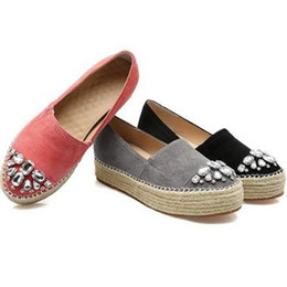 Chinese  Lucky2019 2016 Woman Leather Flats Rhinestones Loafers Ladies Creepers Espadrilles Flat Shoes For Women manufacturers