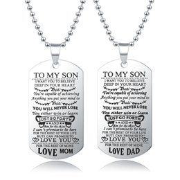 Discount dad daughter jewelry - Fashion Family Jewelry To My Son Daughter Love Dad Mom Dog Tag Military Necklace Birthday Graduation Gift for Kids2018