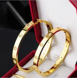 Beaded crystal Bags online shopping - Top Titanium Steel Love Bracelet silver rose gold bracelet Bangles Women Men Screw Screwdriver Bracelet Couple Jewelry with original bag