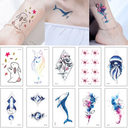 a4f3cdbe6 Mysterious Blue Style Tattoo Sticker Colored Drawing Fake Fish Jellyfish  Small Flower Bear Birds Decal Waterproof Temporary Tattoo Cute Kids