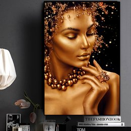 black gold wall art Canada - Sexy Nude African Art Black And Gold Woman Oil Painting On Canvas Cuadros Posters And Prints Wall Art Picture For Living Room