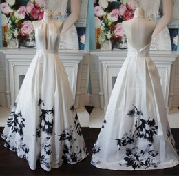 printed satin prom dresses NZ - Black White Print Prom Dresses 2019 A-Line Halter Neck Open Back Formal Event Party Gowns Sweep Train Real Picture Plus Size Ink Painting