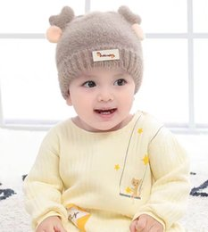 cute kids red caps UK - Fashion Infant Wool Cap Beanie Kids Warm Knitted Hats Winter Cute Children Boys Girls Brand Hats