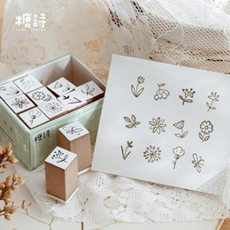 cartoon stamping Australia - 12pc set salt style cute wooden rubber stamps for DIY scrapbooking decoration bullet journal crafts Kawaii