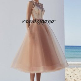 girls white tea length dress NZ - Elegant Champagne Short Prom Dresses 2019 High Quality Tea Length A Line Organza Girls Homecoming party cocktail Dress Cheap Custom Made