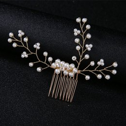 Feather crystal hair comb online shopping - Bridal handmade wedding headdress pearl crystal twisted bead comb comb hair bridal hair accessories wedding dress