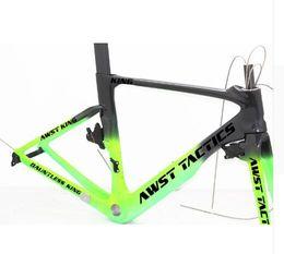 China Road Bike Carbon Australia - Made in china bike carbon frame +handlebar+breaks UD glossy finished green black AWST full carbon frame 49 52 54 56 58cm free shipping