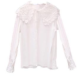 b4ec2020 Loose Korean Style Women Shirts White Cotton Blouses Shirt Long Sleeve  Women Blouse Peter Pan Collar Blusa Feminina Womens Tops