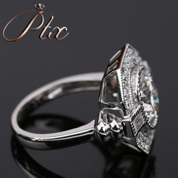 White Gold Moissanite Australia - luxury style vvs clarity synthetic moissanite DEF White color diamond 18k white gold ring for engagement wedding ceremony