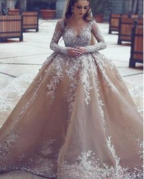 Castle Bling Wedding Dress Canada - Ball Gown Vintage African Champagne Wedding Dresses Long Sleeves 2019 New Arrival Beaded Bridal Gowns Bling Long Train