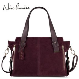 $enCountryForm.capitalKeyWord Australia - Nico Louise Women Real Split Suede Leather Boston Bag Original Design Lady Shoulder Large Travel Doctor Handbag Top-handle Bags Y19061204
