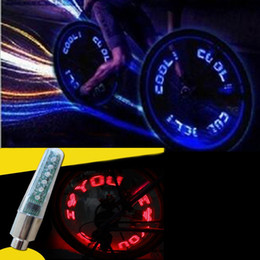 cycle valve lights Canada - Mulit design automatic change LED Tire Valve Stem Caps Motion Spoke Neon Light Bike Bicycle Car Waterproof Cycling Flashlight double side