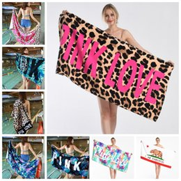 12 Towel Australia - Pink Letter Towel Cotton Beach Towels Swimming Bath Towel Printed Beach Pad Yoga Mats Drying Washcloth 12 Designs Optional YW2641