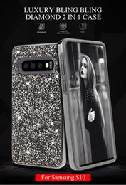 Iphone Cases Rhinestones Wholesale Australia - Premium 2 in 1 Luxury Diamond Rhinestone Glitter Phone Case For iPhone 8 XR XS MAX Samsung galaxy S10 S10 plus S10 lite