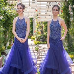 Halter mermaid evening gowns online shopping - 2019 Blue Halter Ruffled Tulle Beads Mermaid Prom Dress Floor Length High end Customed Vestidos De Novia Party Gown