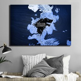 hd prints canvas NZ - A Map Of Westeros Fire And Ice Game Of Thrones Canvas Painting HD Wall Picture Poster And Print Decorative Home Decor