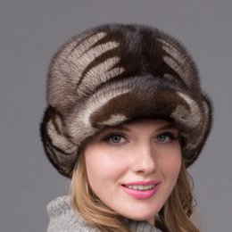 $enCountryForm.capitalKeyWord Australia - JKP women's real suede earmuffs winter warm women's fur cap mink fur beret Russian high-quality elegant head hat DHY-44 D19011503