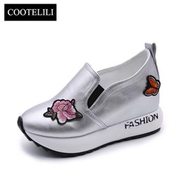 e92e97f039f Designer Dress Shoes COOTELILI Autumn Women Sneakers Platform Inside Increased  Casual Woman Slip on with Flowers Black White Silver 35-39