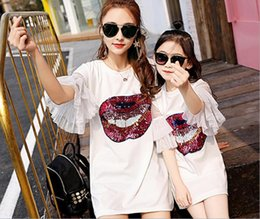 $enCountryForm.capitalKeyWord NZ - Mother Daughter Dresses Matching Mom And Daughter Clothes Sequins Ruffle Sleeve Family Matching Clothes Mommy And Me Dress 2018 Y19051103