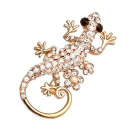$enCountryForm.capitalKeyWord UK - New Bling Full crystal gecko Brooches animal Lapel Pins Badge Backpack Shirt Collar Decor Women Men Jewelry Gift Accessories