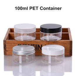 Опт 48 х 100 мл (3,4 унции) ПЭТ пластик ясно банку контейнер для хранения косметическое масло крем еда алюминий / PP крышка