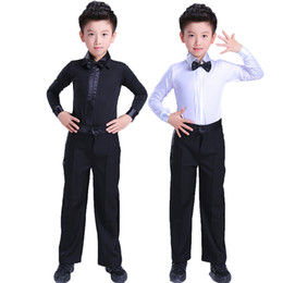 boys dance trousers 2019 - Comfort Latin Dance Shirts For Children Black White Fitness Fabric Fringe Pants Male ChaCha Tops Boy Show Indian Trouser