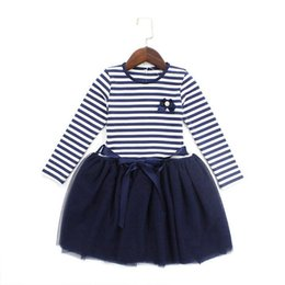 $enCountryForm.capitalKeyWord Australia - Girls princess dresses kids dark blue patchwork cotton mesh striped printed dress baby casual autumn clothes children 3-8 Years
