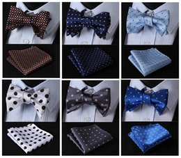 polka dot handkerchief Canada - Polka Dot Classic 100%Silk Jacquard Woven Men Butterfly Self Bow Tie BowTie Pocket Square Handkerchief Suit Set