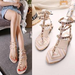 $enCountryForm.capitalKeyWord Australia - Hot Sale-Rivet Sandals Summer Women Shoes T-Strap Flat Heels Woman Sandals Gladiator Shoes Roman Ladies TB10