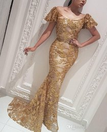 gold sequin prom dress short Australia - Fashion Gold Sequin Mermiad Formal Evening Dresses With Scoop Neck Short Sleeves floor Length Sparkling prom Gown 2019