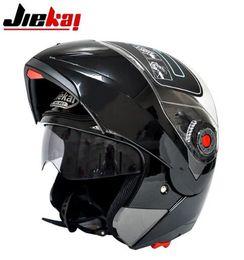 Dual Lens Half Helmet Australia - The latest JIEKAI motorcycle helmets dual lens visors flip up motocross helmets warm windproof sand dust proof