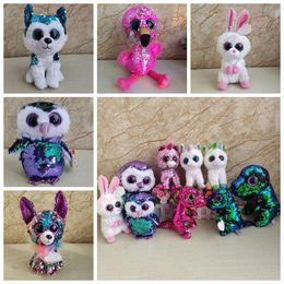 Sequin Ty Beanie Boos Stuffed Dolls Big Eyes Unicorn Plush Toy Owl Plush  Animals Kids Stuffed Flamingo Dolls Christmas Gifts CCA11274 30pcs 147349920c3a
